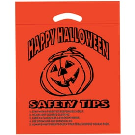 Pumpkin Die Cut Plastic Bag with Safety Tips