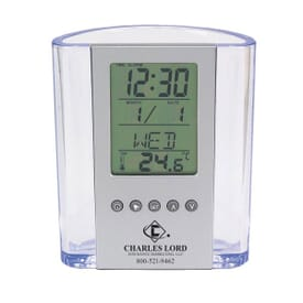 Clear Pen Cup with Alarm & Thermometer