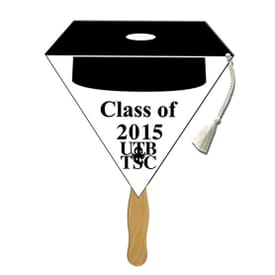 Black Top Cap Shaped Graduation Fan