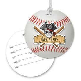 Round Luggage Tag With Clear Strap - Baseball