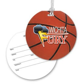 Round Luggage Tag With Clear Strap - Basketball