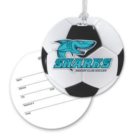 Round Luggage Tag With Clear Strap - Soccer