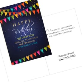 Blue Pennant Birthday Card