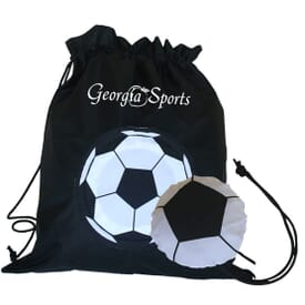 Soccer Ball Drawstring With Stowaway Pouch